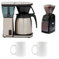 Bonavita BV1800TH 8 Cup Coffee Maker w/ Thermal Carafe + Encore Coffee Grinder + Two 13 Oz White Tiara Cappuccino Cups