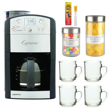 Capresso 465 CoffeeTeam TS 10-Cup Digital Coffeemaker Bundle with Brushtec Coffee Grinder Dusting Brush + Urnex Dezcal Home Activated Descaler + Kit