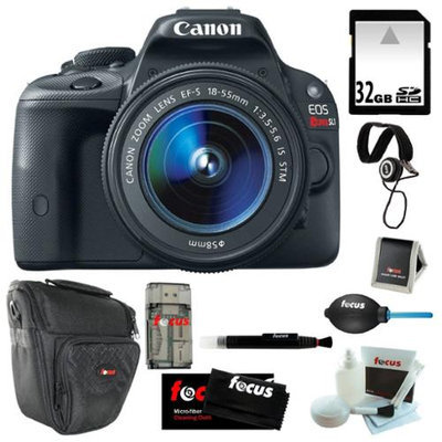Canon EOS Rebel SL1 18MP Digital SLR with 18-55mm EF-S IS STM Lens and 3-inch Touch Screen + 32GB SDHC + Card Reader + Z