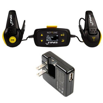 Neptune MP3 Player + Finis Universal Wall Charger for Swim Waterproof MP3