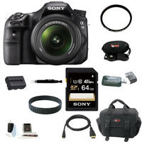 Sony SLTA58 SLT-A58K 20.1MP Translucent Mirror/ DSLR Camera with 3 LCD Screen & 18-55mm Lens(Black) + Sony 64GB Memory Card + Replacement Battery + Sony Small System Case + Snap Jumpstart Guide DVD + Accessory Kit