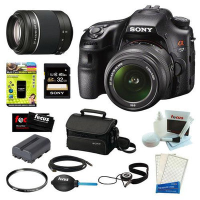 Sony SLT-A58K SLT-A58 with 18-55mm Zoom Lens, 20.1MP DSLR Camera w/ 3 LCD Screen (Black) + Sony SAL-552002 DT 55-200mm f/4-5.6 Telephoto Lens + Sony 32GB Memory Card + Sony Small System Case + Accessory Kit