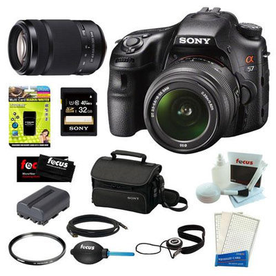 Sony SLT-A58K SLT-A58 with 18-55mm Zoom Lens 20.1MP DSLR Camera w/ 3 LCD Screen (Black) + Sony SAL-55300 DT 55-300mm f/4.5-5.6 Zoom Lens + Sony 32GB Memory Card + Sony Small System Case + Accessory Kit