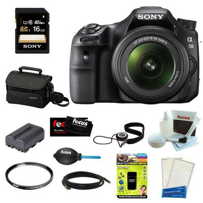 Sony SLT-A58K SLT-A58 with 18-55mm Zoom Lens, 20.1MP DSLR Camera w/ 3 LCD Screen (Black) + Sony 16GB Memory Card + Sony Small System Case + Accessory Kit