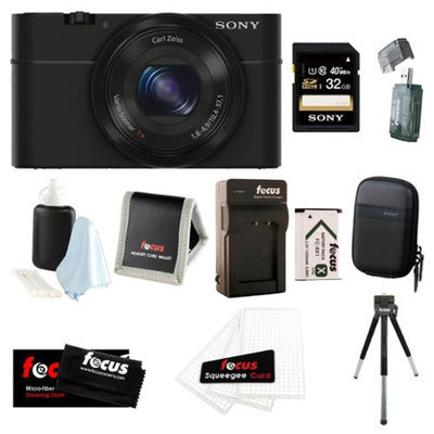 Sony DSC-RX100 20.2 MP Exmor CMOS Sensor Digital Camera with 3.6x Zoom Bundle with Sony 32GB Memory Card + Wasabi Power Replacement Battery and Charger Kit + Soft Carrying Case and Accessory Kit