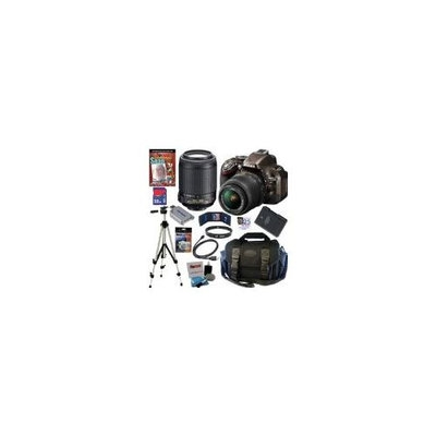 NIKON D5200 24.1 MP CMOS Digital SLR Camera (Bronze) with 18-55mm f/3.5-5.6G AF-S DX VR and 55-200mm f/4-5.6G ED IF AF-S DX
