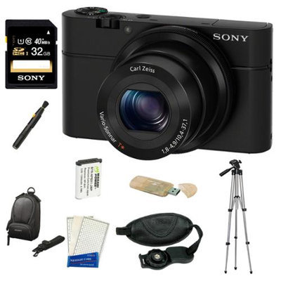 Sony DSC-RX100 20.2 MP Exmor CMOS Sensor Digital Camera with 3.6x Zoom + 32GB Class 10 Memory Card + Extra Sony NPBX1 Battery Bundle