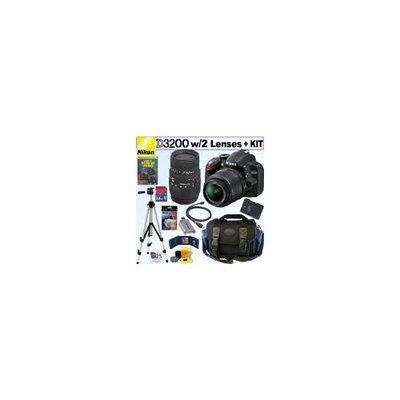 NIKON D3200 Camera Lens Kit 24.2 MP CMOS DSLR with 18-55mm f/3.5-5.6G AF-S DX VR Lens and Sigma 70-300mm f/4-5.6 SLD DG Macro Lens + Nikon EN-EL14 Battery + 32
