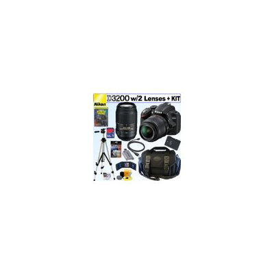 Nikon D3200 24.2 MP CMOS Digital SLR Camera with 18-55mm f/3.5-5.6G AF-S DX VR and 55-300mm f/4.5-5.6G ED VR AF-S DX NIKKOR Zoom Lenses + EN-EL14 Battery + 32GB