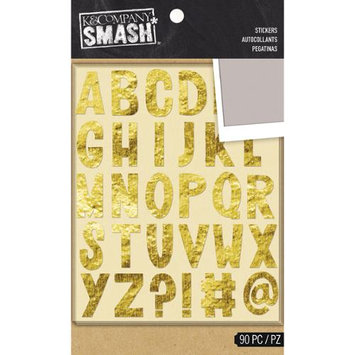 K & Company SMASH Alphabet Stickers 2 Sheets/Pkg-Gold