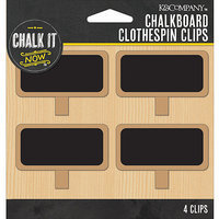 K & Company Chalk It Now Chalkboard Clothespin Clips 4/Pkg