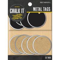 K & Company Chalk It Now Metal Edge Circle Tags 12/Pkg-Chalkboard & Kraft