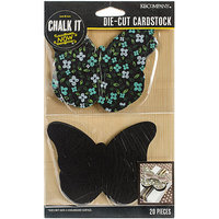 K & Company Chalk It Now Cardstock Die-Cuts-Chalkboard & Printed Butterflies