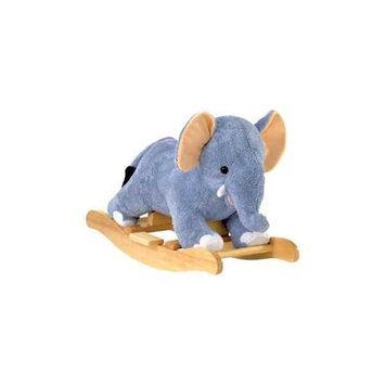 Charm Co. Elmer Elephant Super Soft Plush Rocker with Wood Handles & Base