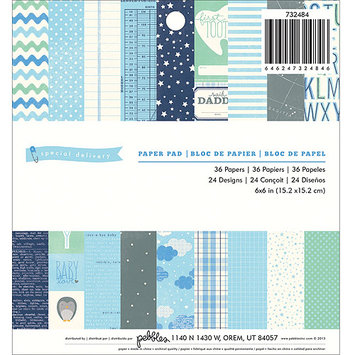 Pebbles 732484 Special Delivery Boy Paper Pad 6 in. X6 in. 36-Sheets-24 Designs