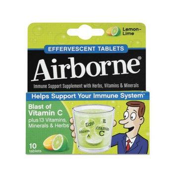 Reckitt Benckiser Airborne Immune Support Effervescent Lemon/ Lime Tablets 10 Count