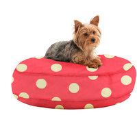Comfort Research Wuf Fuf Round Dog Bed with Liner Pink/White Medium