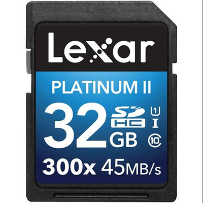 Lexar 32GB Platinum II 300x Class 10 UHSI-U1 SDHC Memory Card for Cameras & Laptop Computer, 45MB/s Read Speed, 20MB/s Write Speed