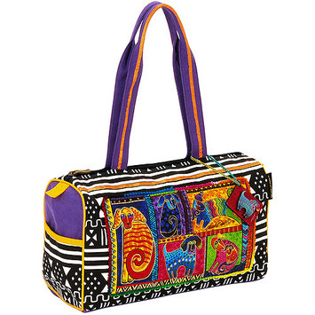 Laurel Burch LB5211 Medium Satchel Zipper Top 15 in. X5 in. X10 in. -Dog Tails Patchwork