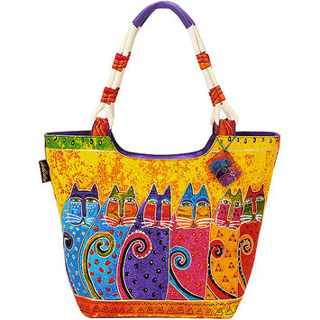 Laurel Burch LB5240 Scoop Tote Zipper Top 19 in. X5 in. X13.50 in. -Feline Tribe