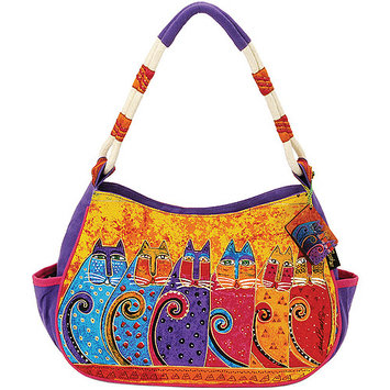 Laurel Burch LB5243 Medium Hobo Zipper Top 11.50 in. X4 in. X9 in. -Feline Tribe