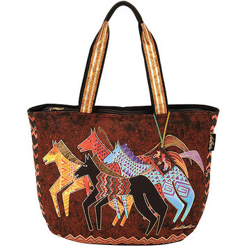 Laurel Burch LB5270 Shoulder Tote Zipper Top 23.50 in. X5.50 in. X15.25 in. -Native Horses