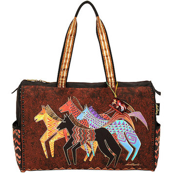 Laurel Burch LB5271 Travel Bag Zipper Top 20.50 in. X8.25 in. X16 in. -Native Horses