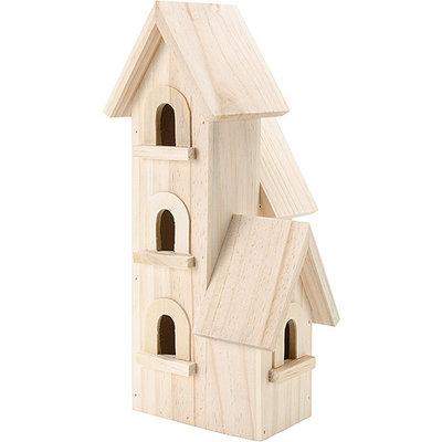 Darice Natural Wood Birdhouse 12in-Manhattan