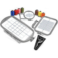3-Hoop Embroidery Package w/ Embroidery Thread and Scissors for Brother Embroidery Machines