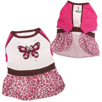 Klippo Pet Beautiful Sparkling Butterfly Dog Dress with Leopard Print Skirt