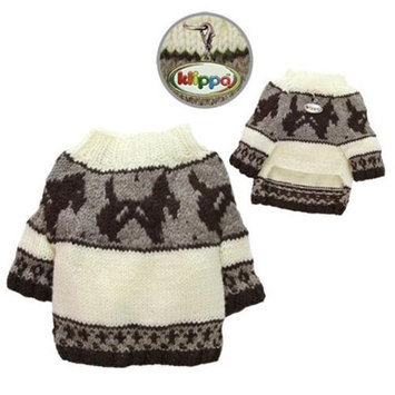 Klippo Pet KSW097XS Brown Doggies & Pattern Sweater - Hand Knitted - Extra Small