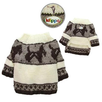 Klippo Pet KSW097LZ Brown Doggies & Pattern Sweater - Hand Knitted - Large