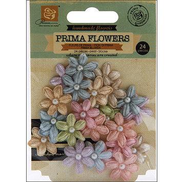 Prima Flowers VEL-56341 Velvet Rainbow Fabric Flowers With Pearls .75 in. To 1 in. 24-Pkg-Vintage