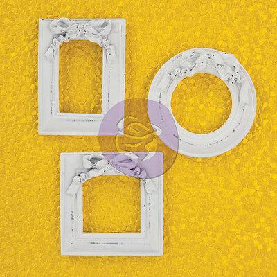Prima Marketing Antique White Resin Frame Embellishments 3/Pkg-Rectangle, Round & Square