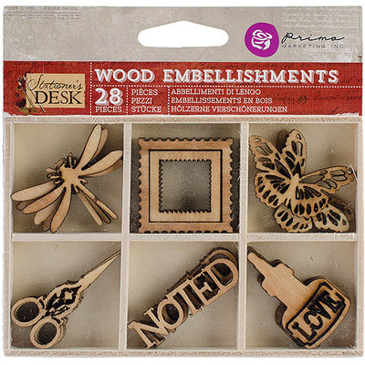 Prima Marketing Stationer's Desk Laser Cut Wood Icons In A Box 28 Pieces
