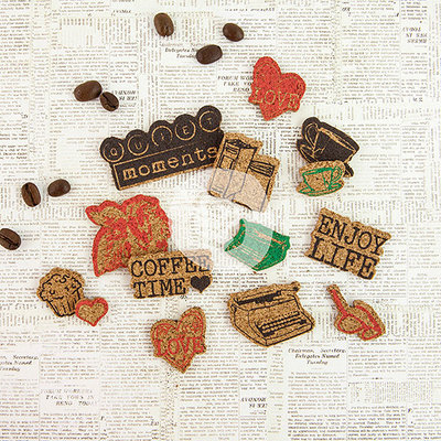Prima Marketing Coffee Break Cork Stickers 14/Pkg