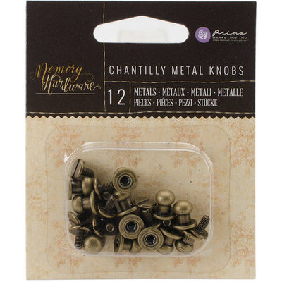 Prima Marketing Memory Hardware Embellishments-Metal Knobs, 12/Pkg