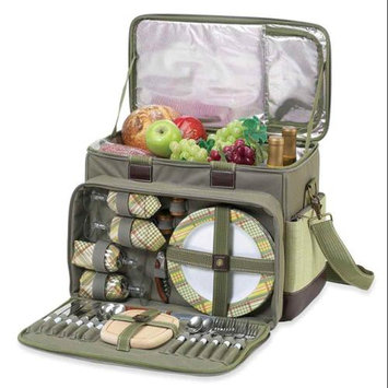 Picnic at Ascot - Hamptons Deluxe Picnic Cooler for Four - Olive/Tweed