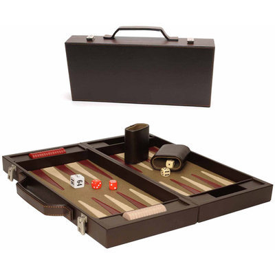 Wood Expressions WE Games 17.25 Inch Luxury Brown Backgammon Briefcase