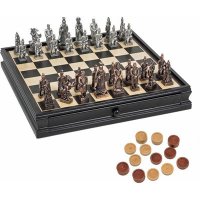 Wood Expressions WE Games Chinese Qin Pewter Chess and Checker Set with Storage