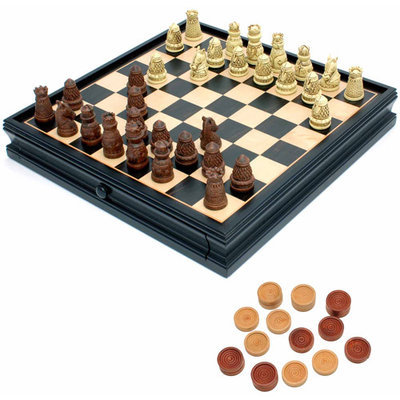 Wood Expressions Medieval Chess and Checkers Set