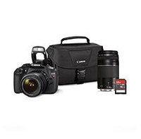 Canon T5 18MP Digital SLR Bundle with 18-55mm IS Lens, 75-300mm Lens, 16GB SD Card, and EOS 100ES DSLR Shoulder Bag