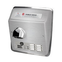 World Dryer Model A Durable Hand Dryer Finish: Brushed Stainless Steel, Voltage: 110-120 V, 20 Amps