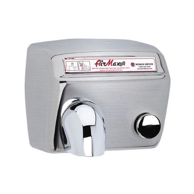 World Dryer AirMax Heavy Duty Hand Dryer Finish: Brushed Stainless Steel, Voltage: 208-240 V