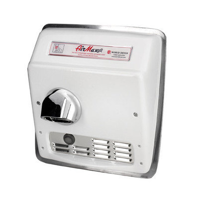 World Dryer AirMax Hand Dryer Finish: Cast Iron White, Voltage: 208-240 V