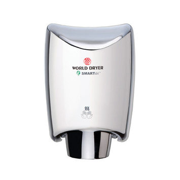 World Dryer SmartDri Multi-Port Nozzle Hand Dryer Finish: Polished Stainless Steel, Voltage: 208-240 V