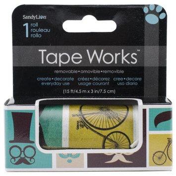 Sandy Lion Tape Works Accent Tape 3X15ft-Mustache, Balloon, Eiffel Tower
