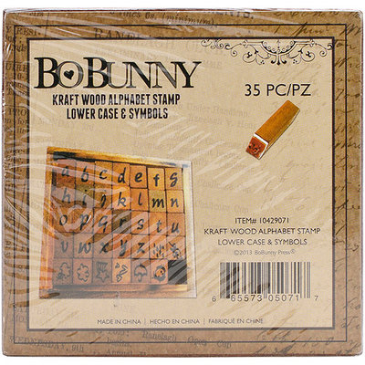 Bo Bunny 10429071 Kraft Wood Alphabet Stamps-Lower Case