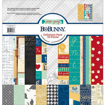 Bo Bunny 15916307 Pop Quiz Collection Pack 12 in. X12 in. -18 Double-Sided Papers plus Sticker Sheet