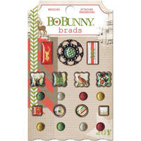 Bo Bunny Christmas Collage Brads 19/Pkg
